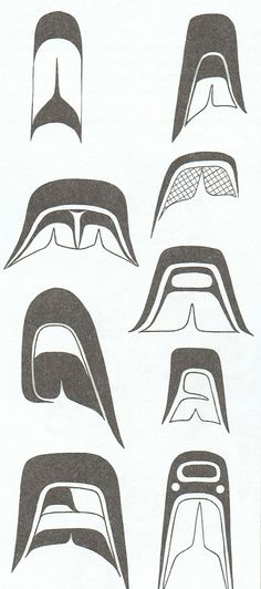 More detailed Split U design elements used in Westcoast Native Art.You can find Haida art and more on our website.More detailed Split U design elements used. Haida Kunst, Arte Haida, Haida Art, Arte Inuit, Inuit Art, Arte Tribal, Tribal Art, Native Art, Native American Art