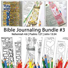Bible Journaling Bible Verse Art Bible Verse Print great for faith journals Art Journals Bundle 3 Nehemiah 4-6 Psalms 127 John 13-34  This is a bundle of 3 of our designs saved in 1 file ready for you to print and color. Bible Verse Art is ready to print and color however you like... adding your own personal style and flair. You can turn them into stickers, bookmarks, or tracing templates for your own art.  Print on card stock, sticker paper, glossy, etc. I recommend this full sheet sticker…