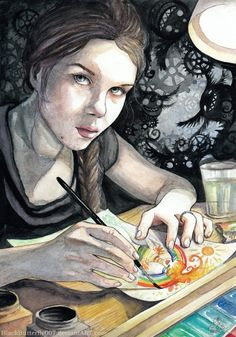 Selfportrait - Amazing watercolor paintings by Estonia based artist Silvia Sillaots