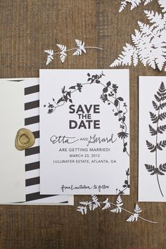 beautiful botanical save the date by #ericaloesing #savethedate #blackandwhite