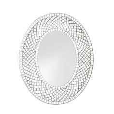 "15.9"" Oval Modern Silver Mosaic Tiled Wall Mirror Contemporary Home Decor"