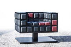 Bongio Casa furniture single seat black with a dash of red.  Home decor.