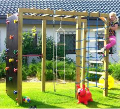 XXL climbing frame climbing tower play tower with climbing net .-XXL Klettergerüst Kletterturm Spielturm mit Kletternetz Reckstange Leiter XXL climbing frame climbing tower climbing frame with climbing net stretching rod ladder - Outdoor Play Areas, Outdoor Games For Kids, Backyard For Kids, Backyard Projects, Modern Backyard, Outdoor Plants, Backyard Play Areas, Backyard Landscaping, Outdoor Play Structures