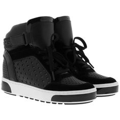 Michael Kors Sneakers - Pia High Top Sneaker Black - in black -... ($245) ❤ liked on Polyvore featuring shoes, sneakers, black, black trainers, strap sneakers, black patent sneakers, black patent shoes and black hidden wedge sneakers