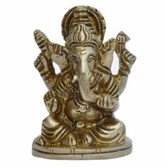 Hindu Statue God Ganesha Brass Collectible.Ganesh Religious Statue Art Sculpture Metal Brass. Lord Ganesh has been represented with the head of an elephant since the early stages of his appearance in Indian art. Ganapati or Ganesha, the Lord of Ganas, the elephant faced God,
