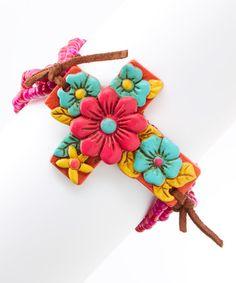 Look at this #zulilyfind! Fuchsia Floral Cross Stretch Bracelet #zulilyfinds