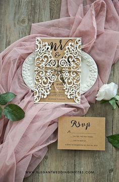 elegant rustic wedding invitation with twines #ewi #rustic #weddinginvitations