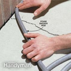 To Do / Home Repair / Exterior: Caulking Concrete Cracks from The Family Handyman Concrete Steps, Concrete Driveways, Concrete Projects, Concrete Caulk, Cement, Walkways, Diy Projects, Fall Projects, Stained Concrete