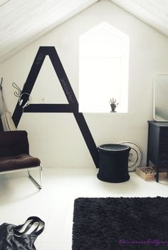 blackboard paint letter - cool idea for a kids room, put their initial by their bed