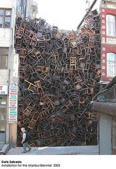 I've always loved this installation!  Doris Salcedo at Alexander and Bonin. by may