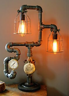 16 Sculptural Industrial DIY Pipe Lamp Design Ideas Able to Transform Your Decor homesthetics design Industrial Floor Lamps, Industrial Light Fixtures, Industrial Lighting, Industrial Furniture, Industrial Pipe, Industrial Design, Industrial Style, Industrial Apartment, Vintage Industrial