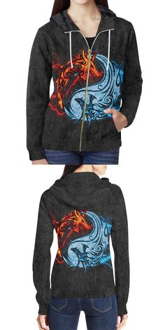 96a60ec333424 Fire and Ice Yin Yang Dragons Women s Zipper Hoodie