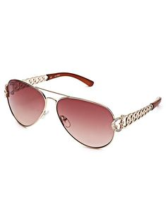 b3ddeb19380 GUESS Factory Women s Chain-Link Aviator Sunglasses
