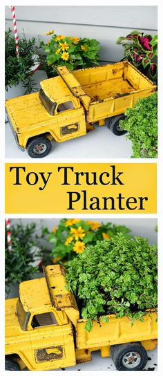 Trucking: Fun Upcycled Planter Idea Using a toy truck, found at a yard sale, as a planter. There's no end to what you can plant in!Using a toy truck, found at a yard sale, as a planter. There's no end to what you can plant in! Garden Junk, Garden Planters, Lawn And Garden, Garden Totems, Fall Planters, Kid Garden, Rusty Garden, Garden Whimsy, Flower Planters