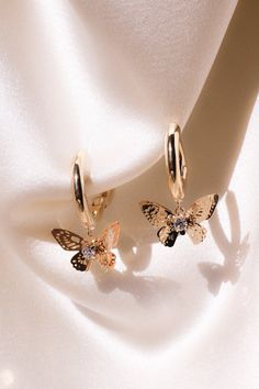 Romantic earrings - Our gold-plated romantic butterfly earrings . - Romantic earrings – Our gold-plated romantic butterfly earrings have small hoops and eye-catching - Ear Jewelry, Dainty Jewelry, Cute Jewelry, Gold Jewelry, Jewelery, Beaded Jewelry, Jewelry Accessories, Jewelry Box, Jewelry Armoire