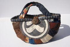 古布、酒袋、前掛け、刺し子、柿渋染めのバッグの画像1枚目