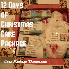 Twelve Days of Christmas Care Package. Needs a little modification, but it's def a good start.