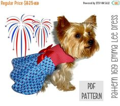 ON SALE Patriotic Dog Dress SEWING Pattern  1619 by SofiandFriends