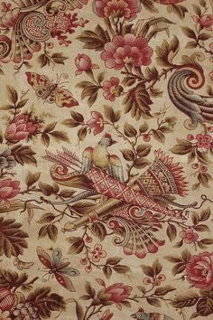 Gorgeous 19th century French printed cotton ~ stunning pattern and design ~ for timeworn framing ~ www.textiletrunk.com