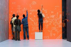 Interactive Art: Create something together Installation Interactive, Interactive Exhibition, Interactive Walls, Interactive Media, Exhibition Space, Installation Art, Environmental Graphics, Environmental Design, Frederic