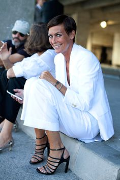 all white suite and Dries van Noten shoes