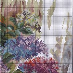 Embroidery scheme Fragrance of lilac (Wonderful needle) 2 from 4 The Diagram, Plastic Canvas, Cross Stitching, Cross Stitch Patterns, Embroidery, Simple, Painting, Rose, Art On Canvas