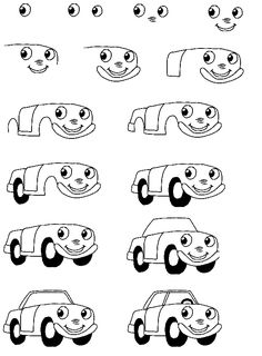 Learn to draw a cartoon car step by step Summer week A Cartoon, Cartoon Drawings, Easy Drawings, Doodle Drawings, Inspiration For Kids, Art Journal Inspiration, Writing Kids Books, Collages, Drawing For Kids
