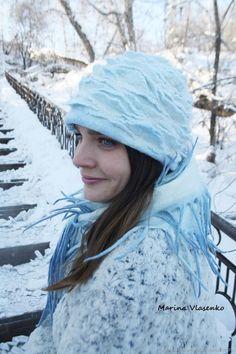 Комплект валяный Голубая розочка – купить в интернет-магазине на Ярмарке Мастеров с доставкой