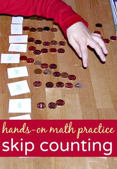 Fun skip counting activities for kids to make hands on math practice and learning fun for kids. Easy to do at home after school with coins and counters.
