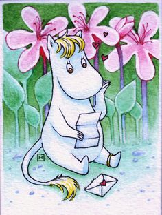 a moomin - to me just a sweet little horse reading a letter