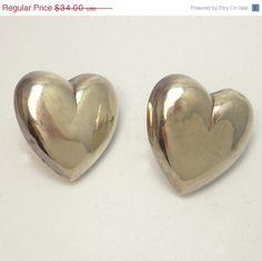 Large Sterling Silver Puffy Heart Pierced Earrings by jujubee1 #ecochicteam #giftsforher
