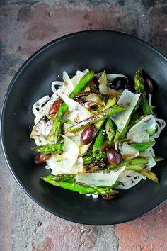 Pan-Roasted Asparagus over Thai Brown Rice Noodles Kalamata Olives, Balsamic Reduction, Shaved Parmesan - Explore Asian