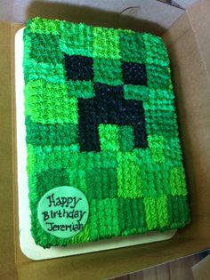 Minecraft birthday cake. Going to make it for Kole this year!