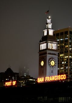 Part of San Fransisco Neon & Ferry Building Clock Tower  Foggy  Night  California