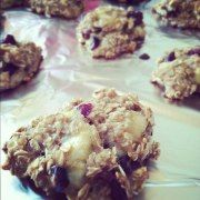 breakfast cookie - no flour, no sugar, no dairy.     1.5 cups of oats,   2-3 super ripened bananas  ,1 cup of unsweetened applesauce,   a handful of craisins,   and a sprinkle of cinnamon.   Just throw everything together, mix it up pretty well, throw it on a baking sheet at 350 for about 35 minutes