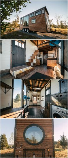 The Silhouette is an awesome tiny house built by Wind River Tiny Homes. The tiny house features two large fixed windows in the living room and an oversized round window in the bathroom. The 26-foot tiny house blends rustic charm with industrial chic and uses high-end finishes throughout. The home's exterior combines cedar and patina steel clad siding, and an exterior copper swivel shower makes it easy to rinse off outside. #tinyhomeexterior #tinybathrooms