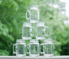 6 Handled Mason Jars for DIY Rustic Weddings by SwissMissCloset, $15.95