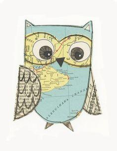 original - collage owl - Lil Art Card by Susan Black