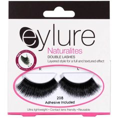 Barbara Eyelure Naturalite Double Lash in Black (4.76 CAD) ❤ liked on Polyvore featuring beauty products, makeup, eye makeup, false eyelashes, beauty, fillers, lashes, black, eylure false eyelashes and eylure