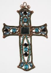 Aqua Turquoise Wall Decor Cross