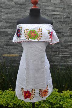 Strapless Dress Chiapas Dress Huipil Mexican Dress   Etsy Mexican Outfit, Mexican Dresses, Mexican Clothing, Mexican Embroidered Dress, Embroidered Clothes, Embroidered Flowers, Ethnic Dress, Boho Dress, White Strapless Dress