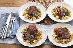 Seared Steaks & Sage Brown Butter with Cauliflower, Beet & Apple Hash. Blue Apron Recipe. Looks divine!