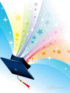 Graduation Cap with Tassels and Sparkling Stars 写真プリント