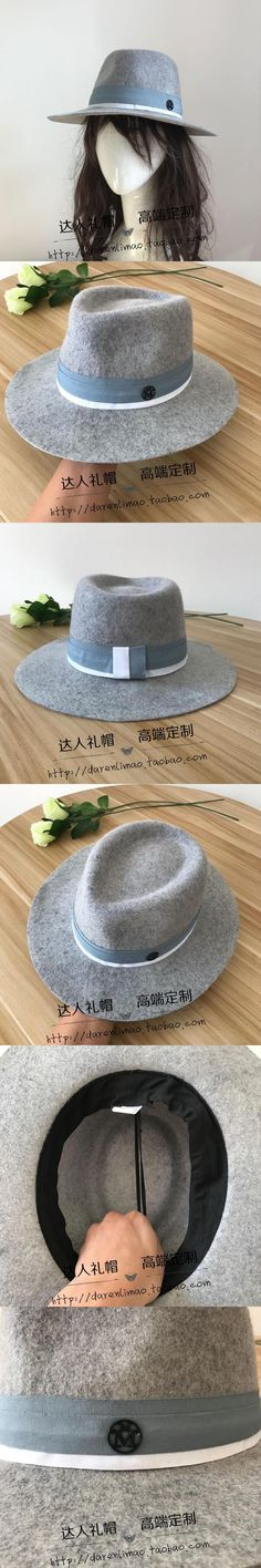 New Occident wool's hat Sir Hearts cap mixed ash female double black metal logogrey hat winding ribbon