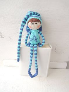 Crochet art doll Elf Azure Cute stuffed doll Soft von ColoredYarn