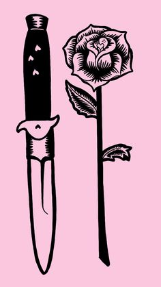 Knife and rose tattoo design on a pink background for a phone background - Cute alternative aesthetic