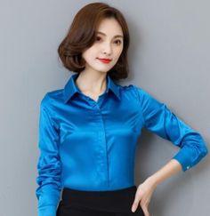 Women Silk Polo Formal Dress Business Shirt Slim Fit Satin Blouses Tops Casual#B