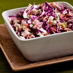 Spicy Lime Coleslaw Recipe Salads with green cabbage, red cabbage, shredded carrots, green onions, mayonnaise, lime juice, Tabasco Green Pepper Sauce, salt, ground black pepper