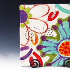 "Colorful Floral Platter - Jubilation Medium Flareware Platter 10""- Pottery Serving Happy Home Decor Birthday Spring Wedding Gift by romyandclare on Etsy https://www.etsy.com/listing/92874833/colorful-floral-platter-jubilation"