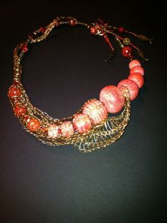 Woven enamel wire, pink coral necklace